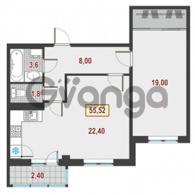 Продается квартира 1-ком 55 м² Немецкая улица 1, метро Улица Дыбенко