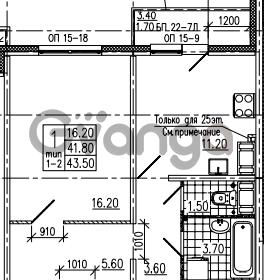 Продается квартира 1-ком 43 м² Маршала Блюхера 12АЭ, метро Лесная