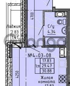 Продается квартира 1-ком 30.88 м² Советский проспект 24, метро Рыбацкое