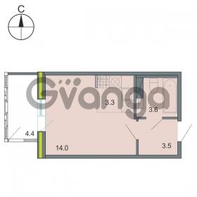 Продается квартира 1-ком 24 м² Республиканская 22, метро Новочеркасская
