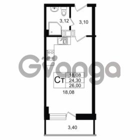 Продается квартира 1-ком 24.3 м² Дальневосточный проспект 40, метро Улица Дыбенко