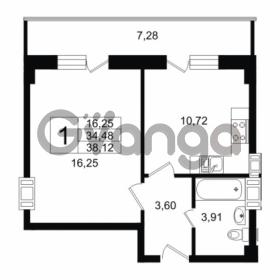 Продается квартира 1-ком 34.48 м² Дальневосточный проспект 40, метро Улица Дыбенко