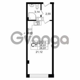 Продается квартира 1-ком 26.81 м² Дальневосточный проспект 40, метро Улица Дыбенко