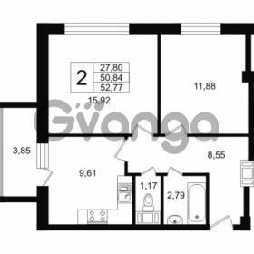 Продается квартира 2-ком 50.84 м² Дальневосточный проспект 40, метро Улица Дыбенко
