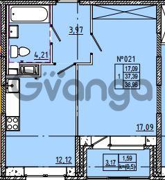 Продается квартира 1-ком 38 м² Камышинская улица 22к 2, метро Ладожская