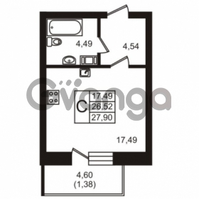 Продается квартира 1-ком 27.9 м² бульвар Менделеева 7, метро Девяткино