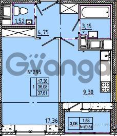 Продается квартира 1-ком 37 м² Камышинская улица 22к 2, метро Ладожская