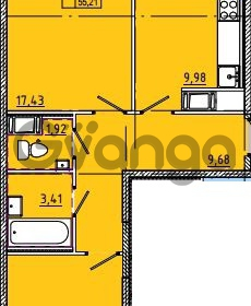 Продается квартира 2-ком 55 м² Камышинская улица 22к 2, метро Ладожская
