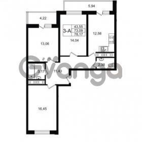 Продается квартира 3-ком 78.17 м² улица Шувалова 1, метро Девяткино