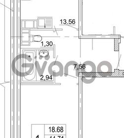 Продается квартира 1-ком 46 м² бульвар Менделеева 13, метро Девяткино