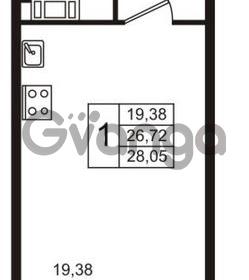 Продается квартира 1-ком 28.05 м² бульвар Менделеева 11, метро Девяткино
