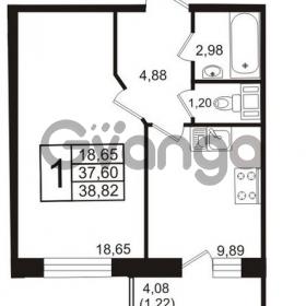 Продается квартира 1-ком 38.82 м² бульвар Менделеева 11, метро Девяткино