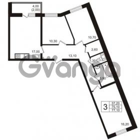 Продается квартира 3-ком 77 м² бульвар Менделеева 15, метро Девяткино
