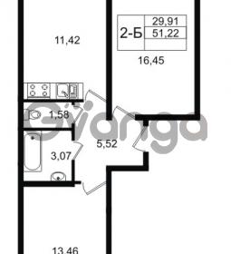 Продается квартира 2-ком 51 м² Графская улица 1, метро Девяткино