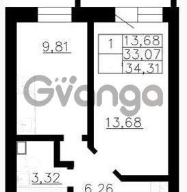 Продается квартира 1-ком 33 м² Гражданская улица 9, метро Девяткино