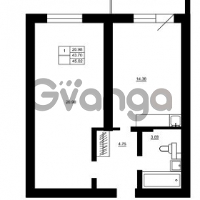 Продается квартира 1-ком 43 м² Гражданская улица 9, метро Девяткино
