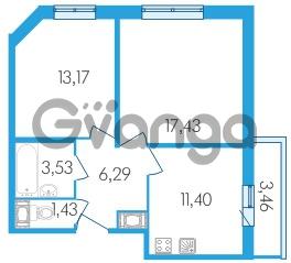 Продается квартира 2-ком 54.88 м² Среднерогатская улица 1, метро Звездная