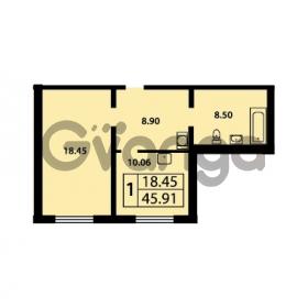 Продается квартира 1-ком 45.91 м² Ленинский проспект 69, метро Проспект Ветеранов