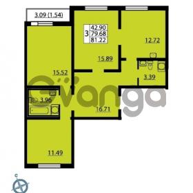 Продается квартира 3-ком 81.22 м² Ленинский проспект 69, метро Проспект Ветеранов