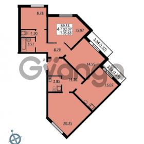 Продается квартира 4-ком 105.63 м² Ленинский проспект 69, метро Проспект Ветеранов