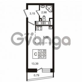 Продается квартира 1-ком 24 м² улица Катерников 1, метро Проспект Ветеранов