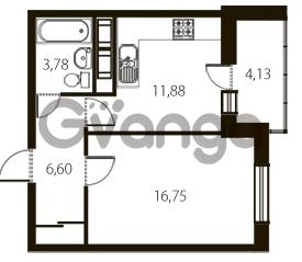 Продается квартира 1-ком 41.08 м² улица Катерников 1, метро Проспект Ветеранов