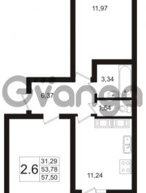 Продается квартира 2-ком 57.5 м² Пулковское шоссе 36к 4, метро Звездная