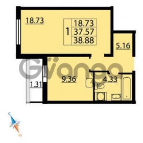Продается квартира 1-ком 38 м² Парашютная улица 54, метро Комендантский проспект