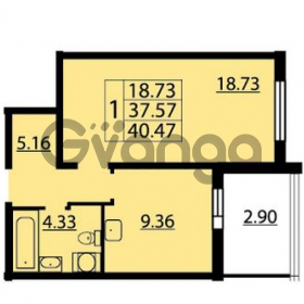 Продается квартира 1-ком 40 м² Парашютная улица 54, метро Комендантский проспект