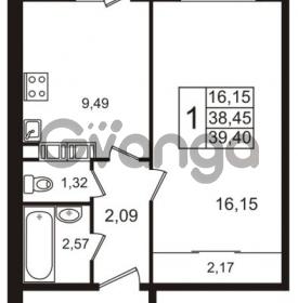 Продается квартира 1-ком 38.45 м² Гатчинское шоссе 7А, метро Проспект Ветеранов