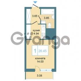 Продается квартира 1-ком 26.45 м² Дунайский проспект 7, метро Звёздная