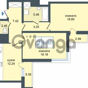 Продается квартира 2-ком 63.83 м² Дунайский проспект 7, метро Звёздная