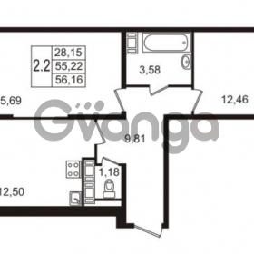 Продается квартира 2-ком 55.22 м² улица Пионерстроя 27, метро Проспект Ветеранов