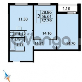 Продается квартира 2-ком 57 м² Парашютная улица 54, метро Комендантский проспект
