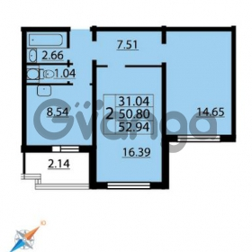 Продается квартира 2-ком 52 м² Парашютная улица 54, метро Комендантский проспект