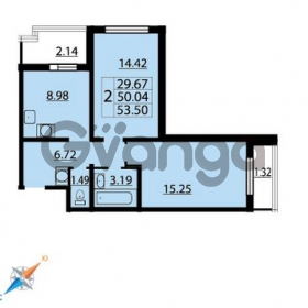 Продается квартира 2-ком 53 м² Парашютная улица 54, метро Комендантский проспект