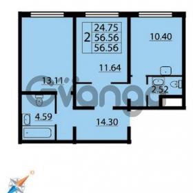 Продается квартира 2-ком 56 м² Парашютная улица 54, метро Комендантский проспект