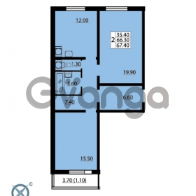 Продается квартира 2-ком 67.4 м² Южное шоссе 110, метро Международная