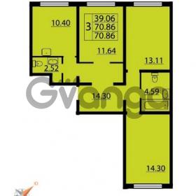 Продается квартира 3-ком 70 м² Парашютная улица 54, метро Комендантский проспект