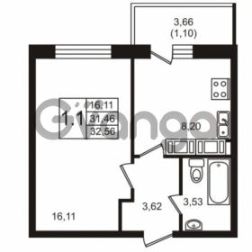 Продается квартира 1-ком 32.56 м² Советский проспект 42, метро Рыбацкое