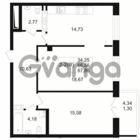 Продается квартира 2-ком 66.56 м² Малый пр. В.О. 64, метро Василеостровская