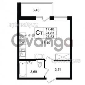 Продается квартира 1-ком 24 м² улица Шувалова 1, метро Девяткино