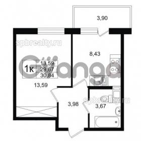 Продается квартира 1-ком 29 м² улица Шувалова 1, метро Девяткино
