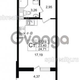 Продается квартира 1-ком 23 м² улица Шувалова 1, метро Девяткино