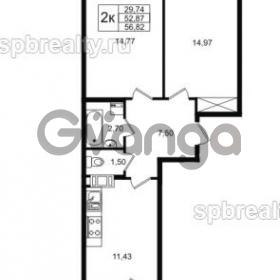 Продается квартира 2-ком 52 м² улица Шувалова 1, метро Девяткино