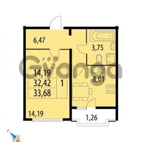 Продается квартира 1-ком 33.68 м² Парашютная улица 52, метро Комендантский проспект