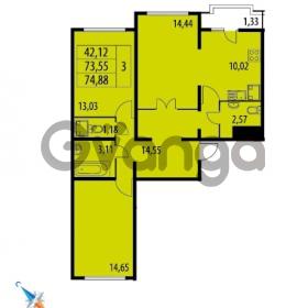 Продается квартира 3-ком 74.88 м² Парашютная улица 52, метро Комендантский проспект