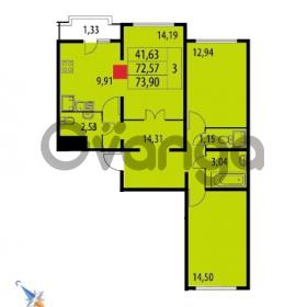 Продается квартира 3-ком 73.9 м² Парашютная улица 52, метро Комендантский проспект