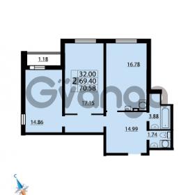 Продается квартира 2-ком 70.58 м² Парашютная улица 52, метро Комендантский проспект