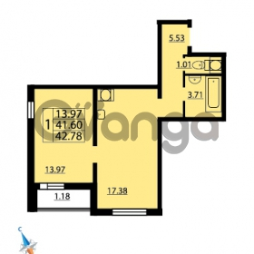Продается квартира 1-ком 42.78 м² Парашютная улица 52, метро Комендантский проспект